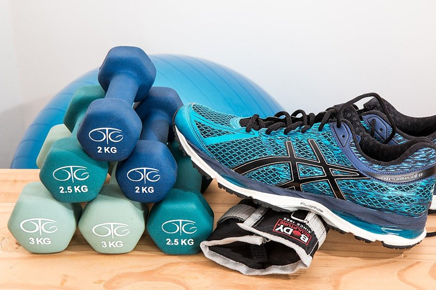 Running shoe and dumbells