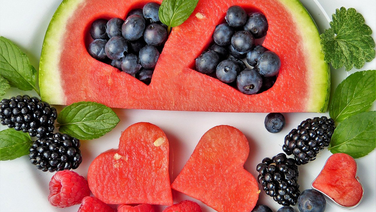 fruit with watermelon cut into heart shapes