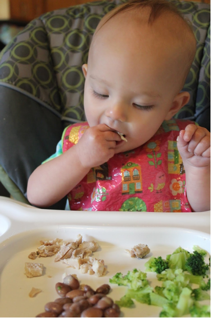 Baby eating food with fingers